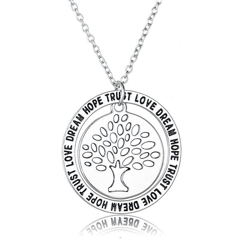 Fashion Bijoux Silver/Gold Colors Tree Of Life Pendants Necklaces DREAM HOPE Letter Signs Women Jewelry Tree Design Necklaces & Pendants