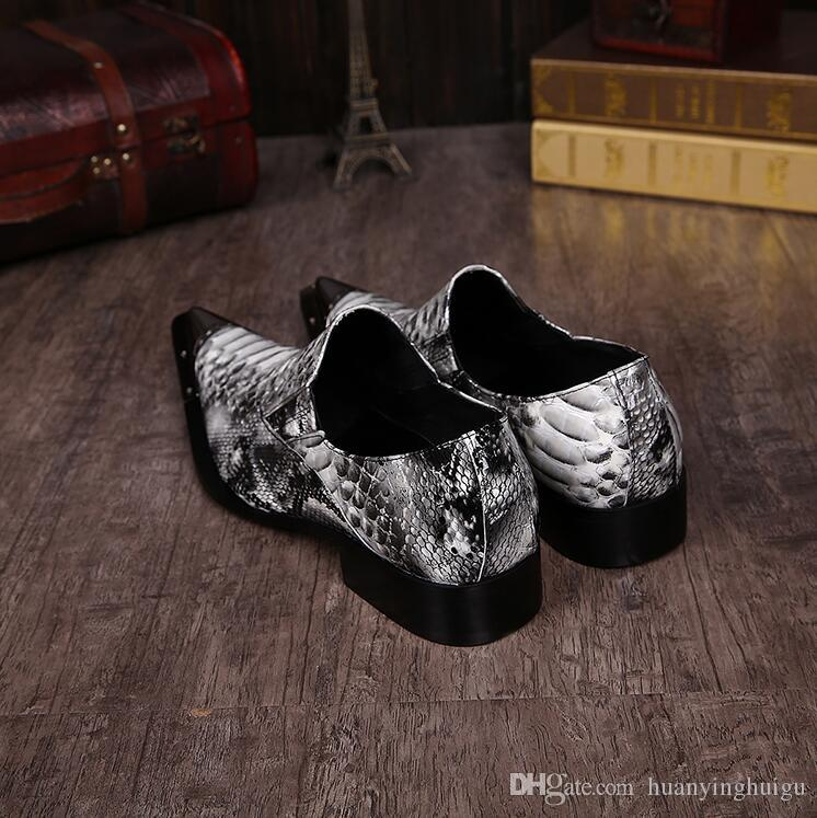 2018 Hot Style White Metal Decor Men Genuine Leather Oxfords Slip On Mens Wedding Dress Shoes Square Toe Business Leather Shoe Flats N90