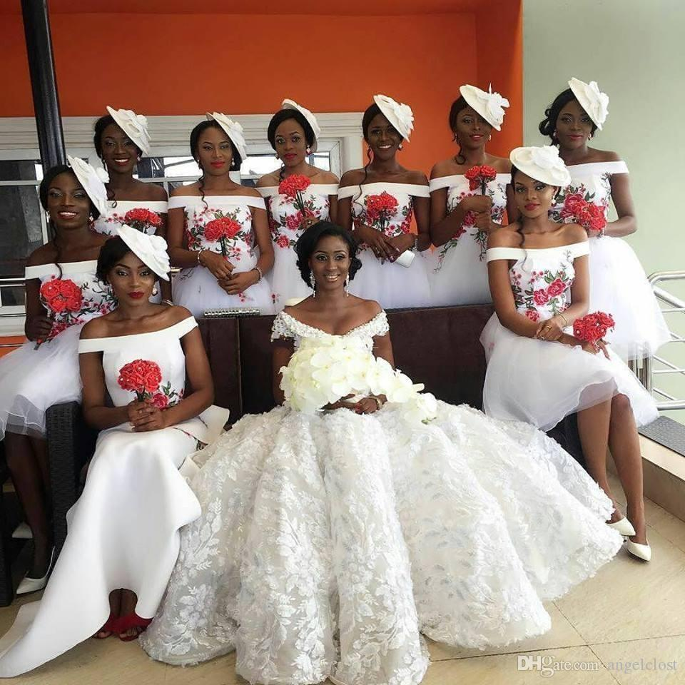 Floral Embroidery White Short Bridesmaids Dresses 2018 Bateau Tulle Puffy Skirt Garden Beach Wedding Guest Gowns Customized African