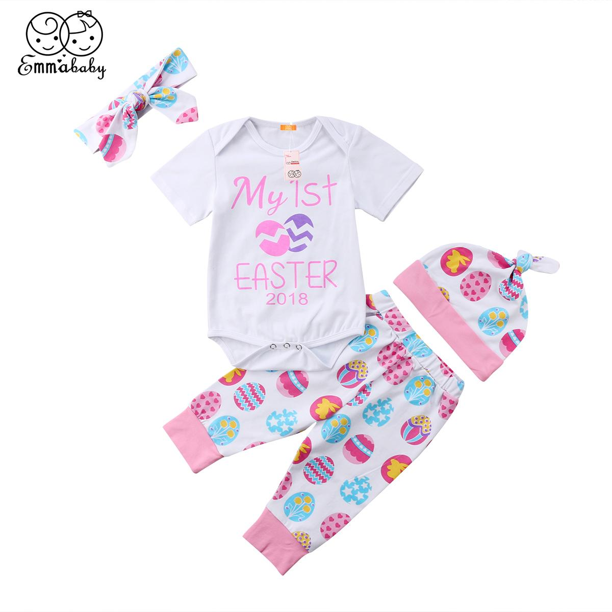 1747f628c 2019 2018 New Kid My First Easter Baby Girl Short Sleeve White Romper Egg  Long Pant Hat Cotton Newborn Outfits Set Clothes 0 24M From Sightly, ...