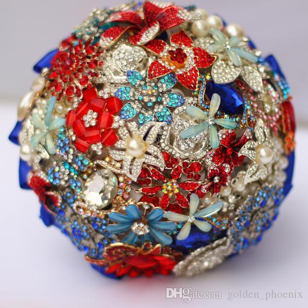 Bijoux de mariage sur mesure haut de gamme tenant des fleurs de cristal de cristal bleu rouge broches bouquets de mariée