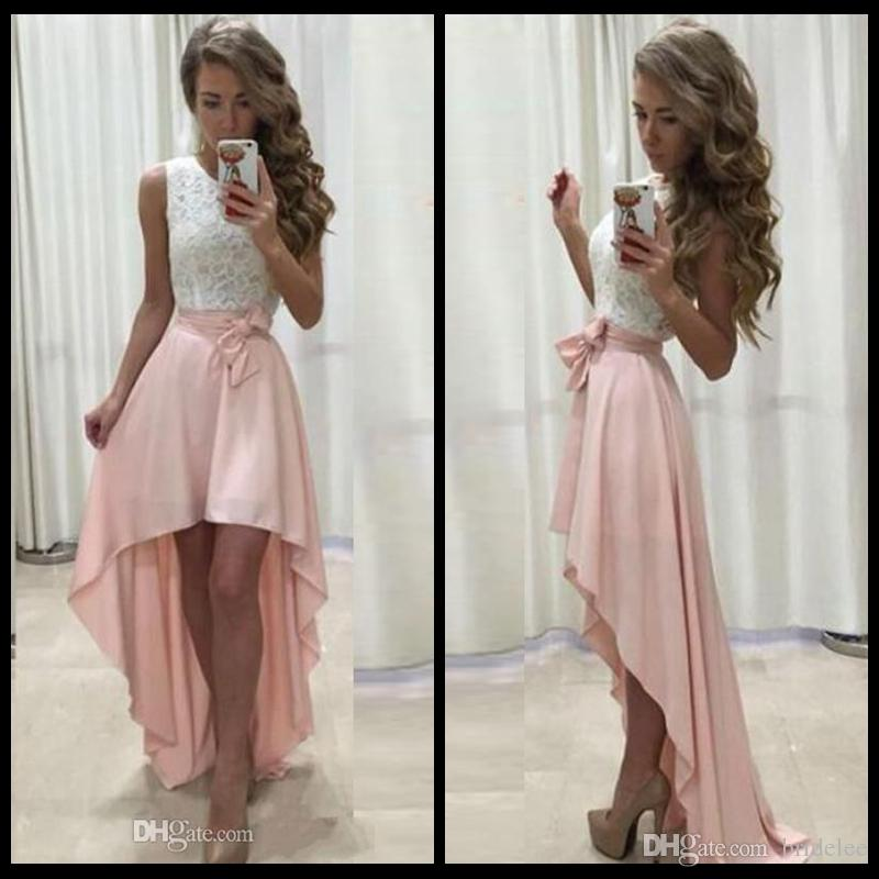 2020 Cheap High Low Prom Dress Jewel Neck Sleeveless Lace Top Blush Pink Short Front Long Back Homecoming Prom Dresses Evening Party Gowns