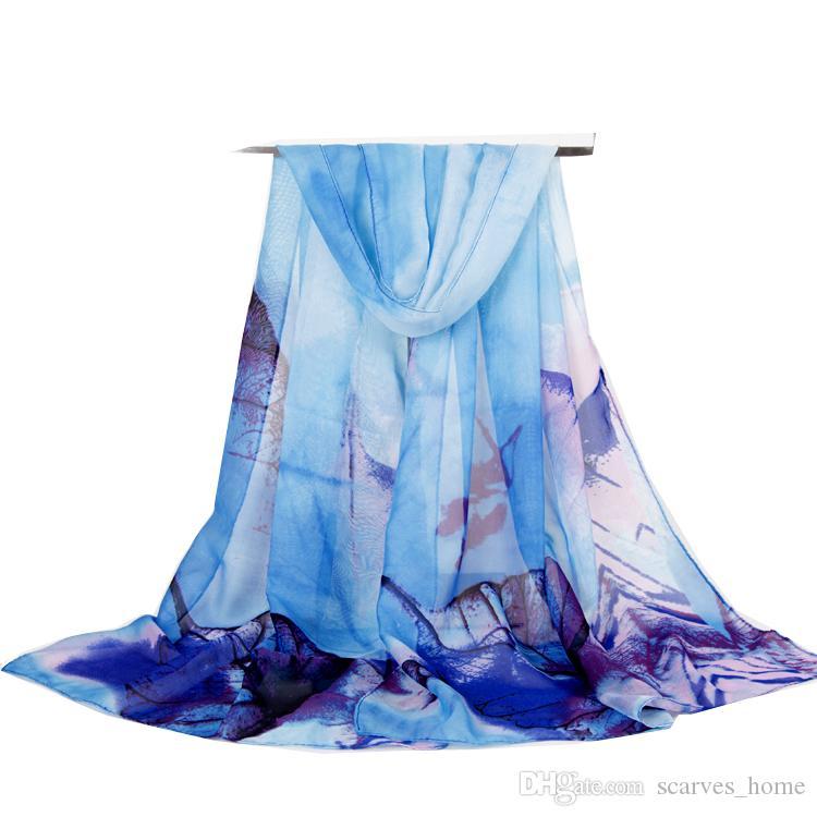 Новое прибытие женская мода шарф большие листья печати шифон шелковые шарфы тонкие длинные шали осень и зима хиджаб обертывания пляж крышка