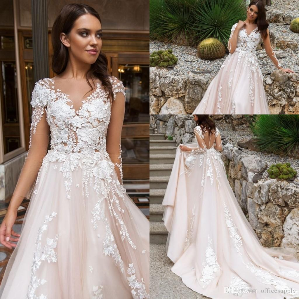 2018 Pearl Pink Illusion Design Wedding Dresses Crystal Lace ...