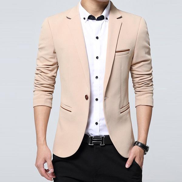 Compre Vestido De Fiesta De Moda Para Hombre Slim Fit Chaqueta De Traje De  Algodón Chaqueta Negro Blazers Para Hombre Escudo De La Boda Para Hombre A   34.52 ... 8a6d126e0d6