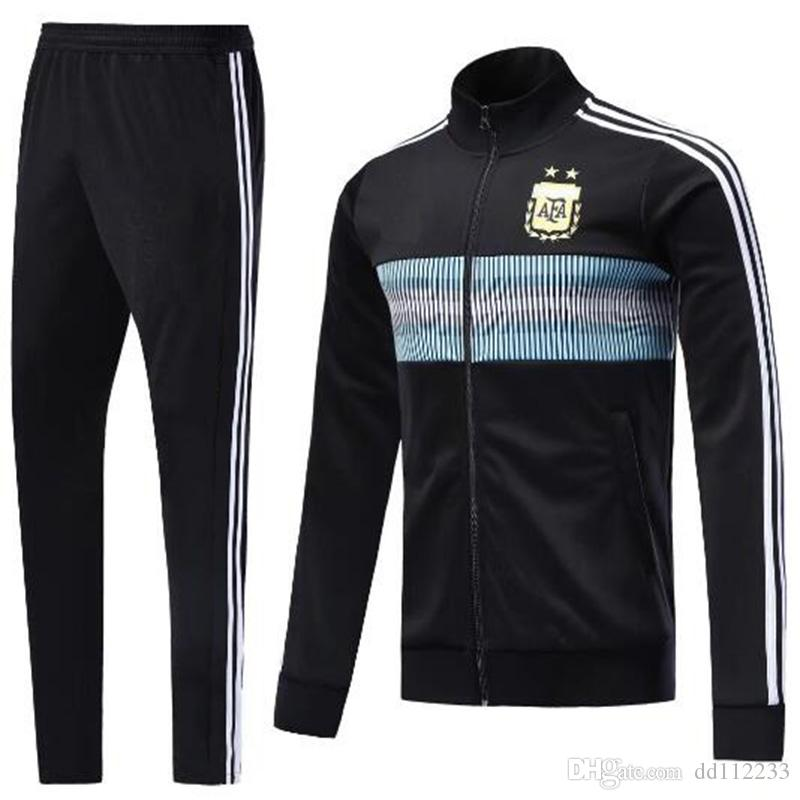 2019 2018 World Cup Argentina Tracksuit Soccer Jacket Set Argentina Blue  Soccer SUIT Messi Aguero CHANDAL Suit TRACKSUIT SPORTSWEAR From Dd112233 db402c10b