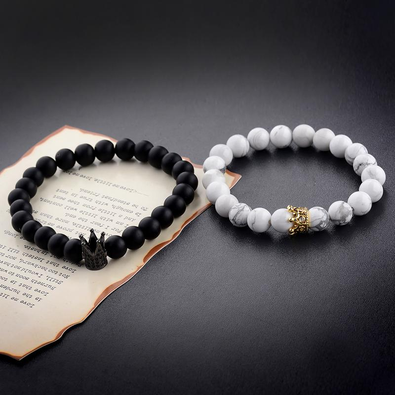 45e5275f418b Compre Nuevo Diseño Pareja Pulseras Hechas A Mano Distancia Negro  MatteWhite Cz Crown King Beads Piedra Pulsera Amantes A  4.05 Del  Yimingshipin1688 ...