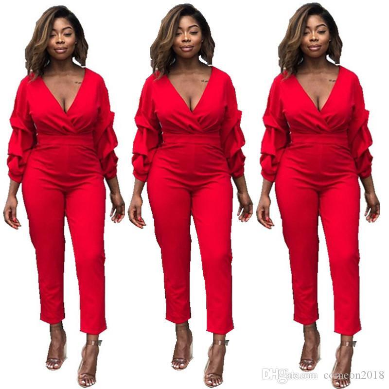 141ccf00f785 Designer Women Clothes Red Women Jumpsuits Heap Sleeve Deep V Neck ...