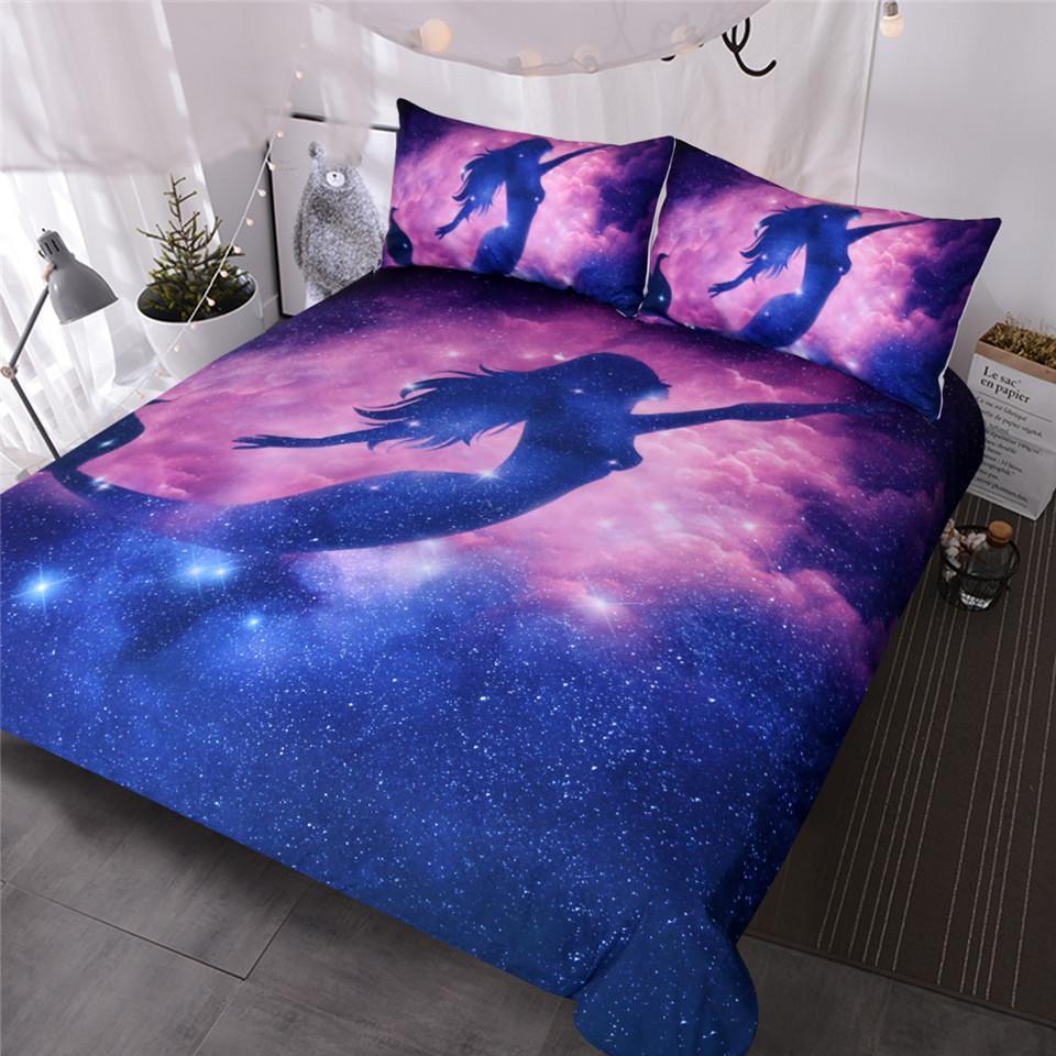 BlessLiving Galaxy Mermaid Bedding Set Girly Space Stars ...