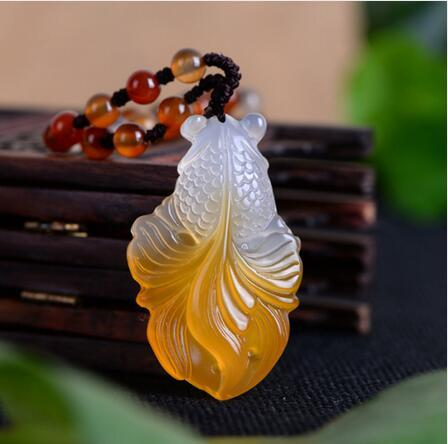 Chalcedony Gold Fish Jade Necklace Pendant Hand Carved Lucky Blessing Necklace Pendant Fine Jewelry