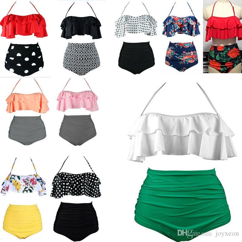 77c0c4b531 2019 Women Retro Boho Flounce High Waist Bikini Set Chic Swimsuit Suit Swimwear  Bikini Padded Bra JHH7 1139 From Joyxeon, $6.15 | DHgate.Com