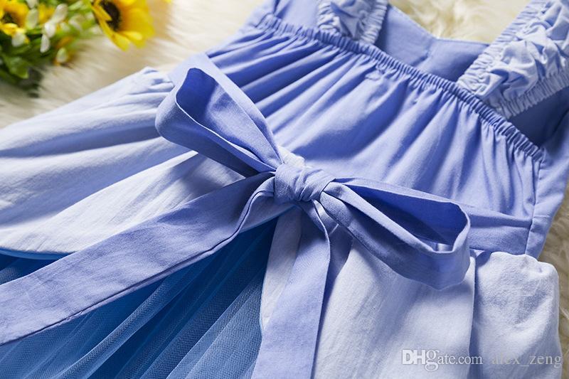 2018 neue Mädchen Kleider Baby Mädchen Sommer Sleeveless Cinderella Prinzessinnen Kinder Mode Spitze Gaze Bogen Kleid Kinder Kleidung Freies Verschiffen