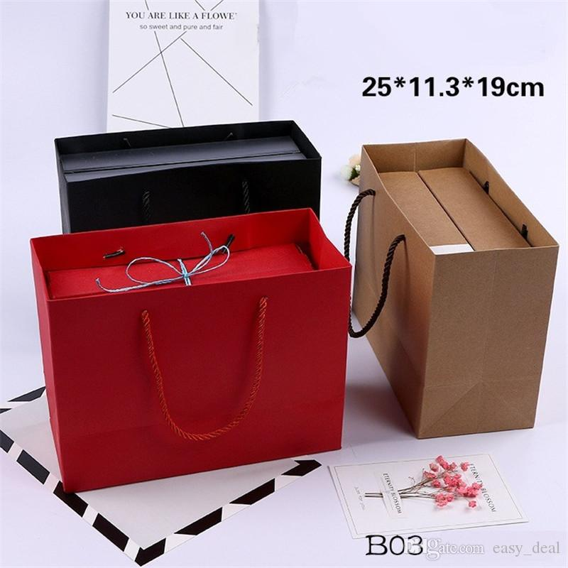 Kraft Paper Gift Bag With Handle 25x11.3x19cm Wedding Birthday Party Gift Christmas New Year Shopping Package Bags LZ1479
