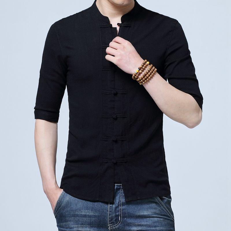 d22a38f6 2019 Men Cotton Linen Shirts Half Sleeve Chinese Style Mandarin Collar  Traditional Kung Fu Tang Casual Social Shirt Brand Clothing From Wqasysos,  ...