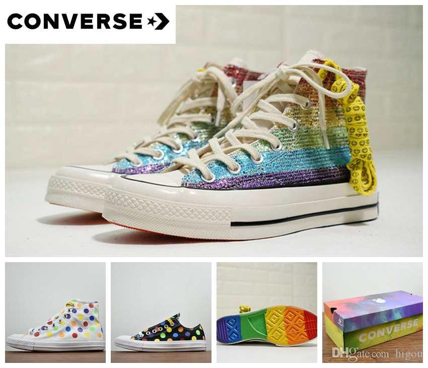 2018 Converse Pride Miley Cyrus All Stars Shoes Chuck 1970S High Top Canvas  Rainbow Women Men Designer Casual Running Sneakers 35 44 Casual Shoes For  Men ... ddc2a84a2