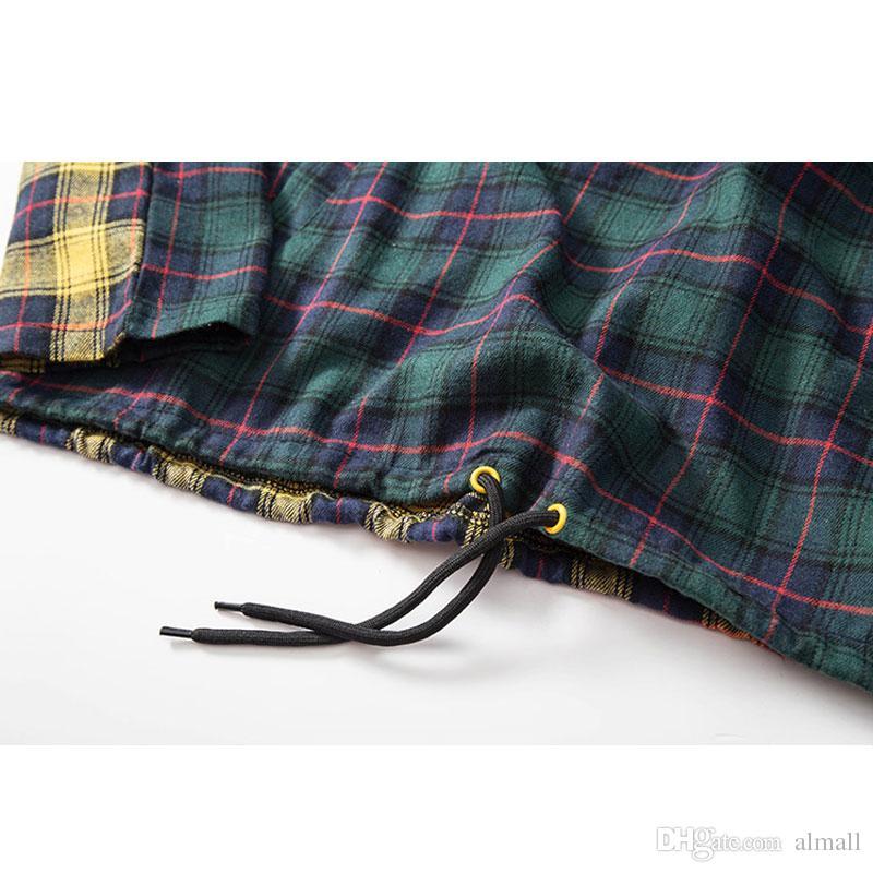 Patchwork Pullover Xadrez Manga Longa Hoodies Camisas Dos Homens Hip Hop Impresso Bolso Com Zíper Camisas Casuais Moda Streetwear