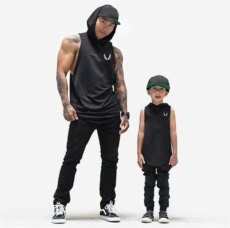 Men's T-Shirts Bodybuilding Stringer Tank Top with hooded Mens Gyms Clothing Fitness Mens Sleeveless Vests Cotton Singlets Muscle Tankops