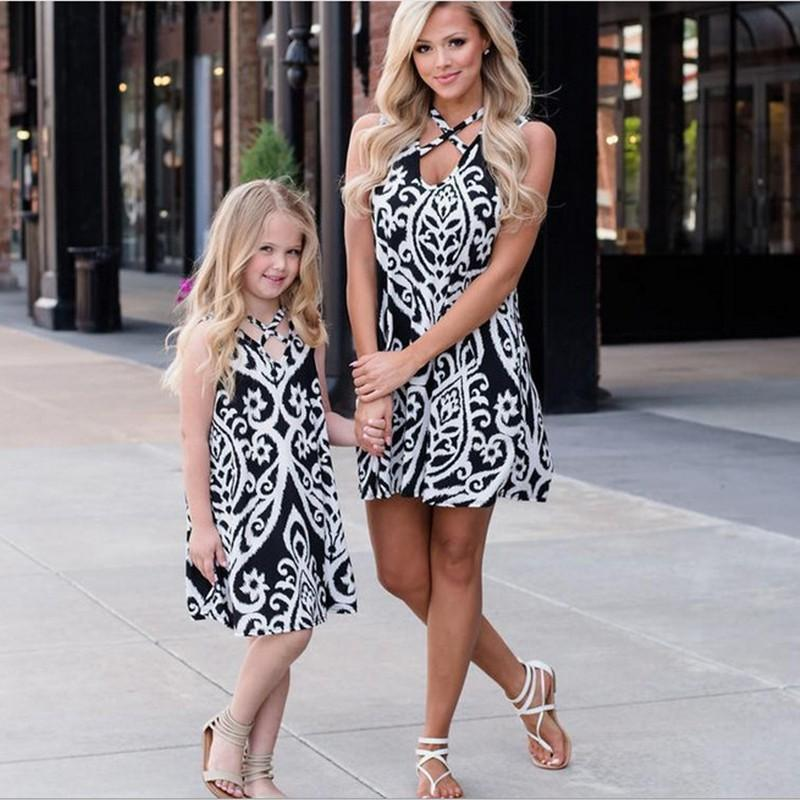 Beforw Mommy And Me Flower Pattern Dresses Family Matching Clothes Outfits Floral Print Sleeveless Mom Girls Sexy Maxi Dress Matching Outfits For Families