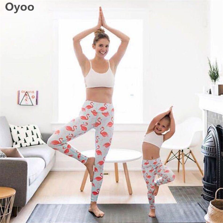 Sportlegging Kids.Oyoo Flamingo Printed Yoga Pants High Waist Elastic Girls Kids Sport