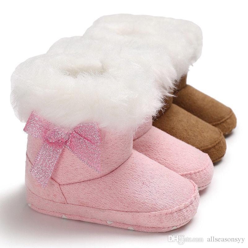 fc9715487bef Newborn Baby Toddler Girls Snow Boots Winter Warm Fur Plush Soft Sole Crib Shoes  Cute Lovely Bowknot Prewalker Best Boots For Toddlers Childrens Work Boots  ...