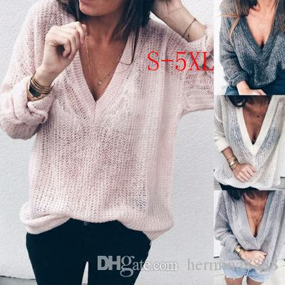 88ce3f835b6a 2019 Plus Size 4XL 5XL Autumn Women Sweater Basic Knitted Tops Solid V Neck  Long Sleeve Sweaters Loose Pullovers Clothing Streetwear From Hermina8888