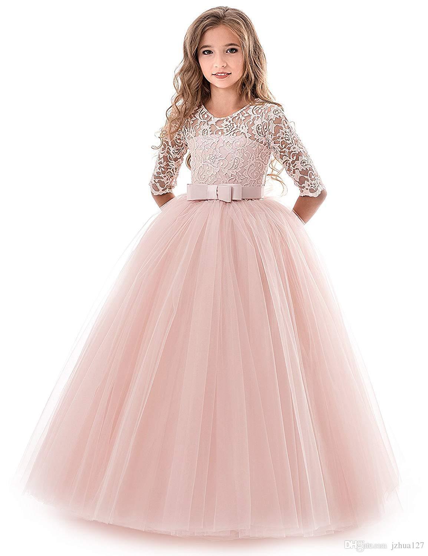 Flower Girl Dress Lace Tulle Floor Length Bridesmaid Dance Ball Gown ...