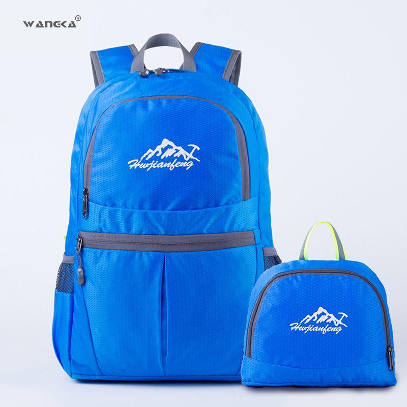 f817dd887c WANGKA Lightweight Nylon Foldable Waterproof Backpack Large Capacity Climb  Hiking Folding Travel Bag Men Women Outdoor Portable Briefcase Duffle Bags  From ...