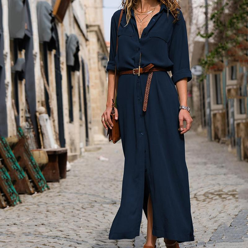 9f2f31176a6b1 Women Sexy Long Shirt Dress Office Lady Casual Work Elegant Dresses Turn  Down Collar Long Sleeve Side Split Blouse Maxi Dress