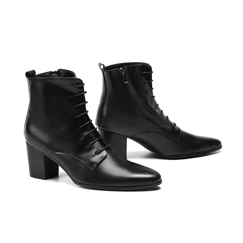 c4fb7fe4c681d Compre Zapatos De Hombre Botas De Vaquero Botas Negras De Cuero Suave  Botines Tacones Gruesos Para Hombre Zapatos De Tacón Alto Zapatos Hombre  Vestir Lace ...