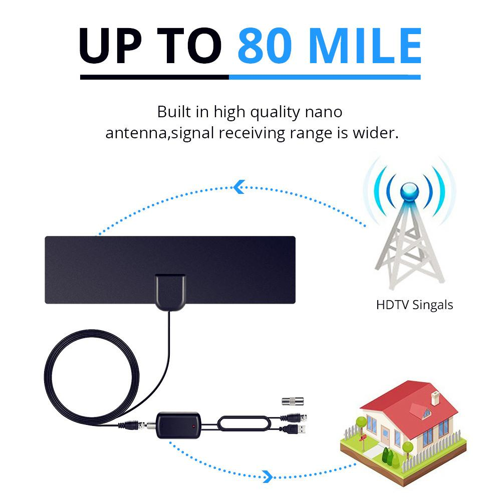 AH LINK 1080P Indoor TV Antenna Digital HDTV Antenna Amplified Booster 80  Mile Range 4K HD VHF Freeview Local Channel TV Aerial Hdtv Antennas Outdoor  Hd ...