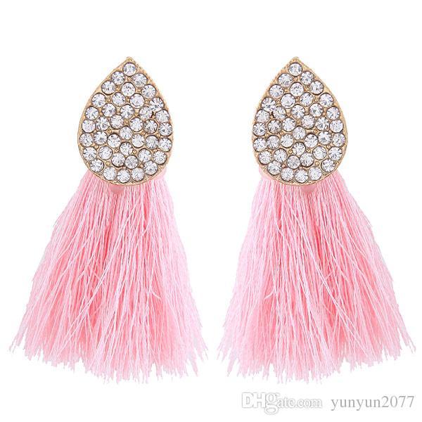 Bohemia Seaside Style Fashion Accessories Jewelry Vintage Retro Rhinestones Tassel Line Pendants Charm Water Drop Dangle Earrings For Women