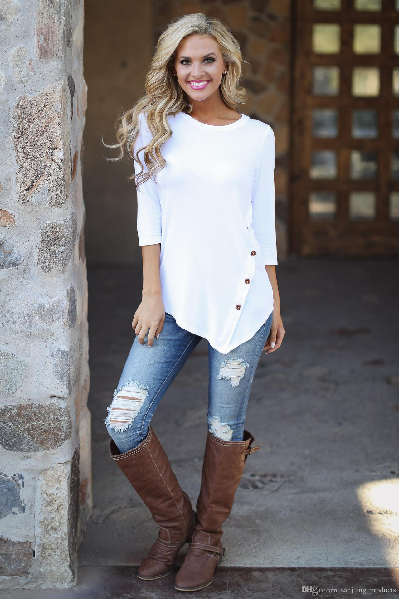 Frauen Unregelmäßige langarm Bluse T-shirt Scoop Neck Button Decor Mode Lässig Hemd Für Mädchen Damen Tops 8Design S-6XL
