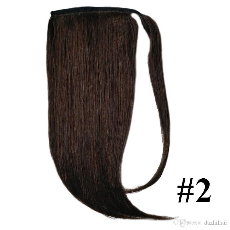 Makine Yapımı Remy Saç Sihirli Wrap Etrafında At Kuyruğu Klip% 100% İnsan Saç Uzantıları At Kuyruğu Düz Birçok Renkler Mevcut