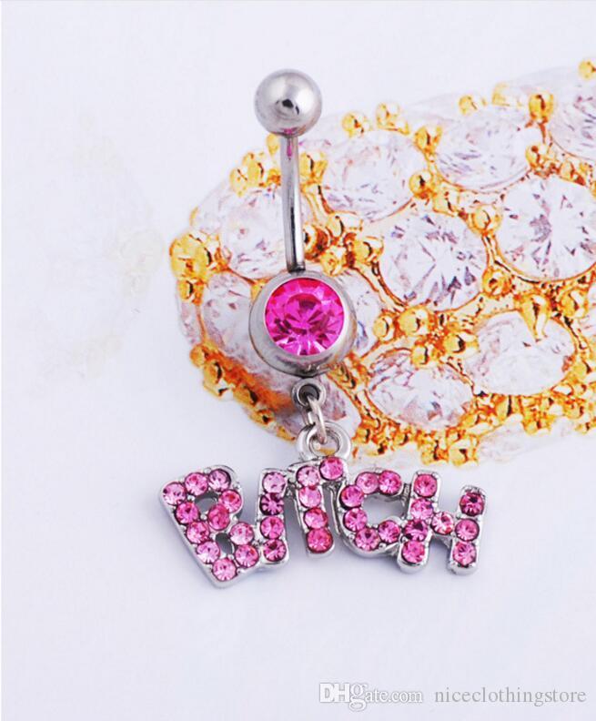 Plata / rosa Sexy Crystal Body Piercing Botón Quirúrgico Anillo de la Joyería Barra de ombligo