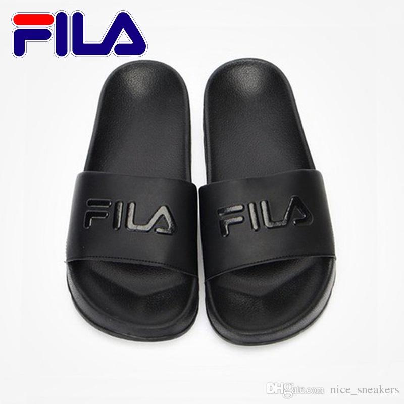 b8a2c96e3c Fila Designer Slippers Mens Womens 2018 Scuffs Beach Slipper Shoes Sandals  Black White Red Anti Slipping Outdoor Light Soft Shoe Size 36 44 Ladies ...