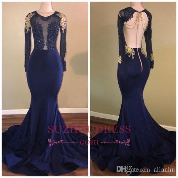 Navy Blue Mermaid Prom Kleider Sexy Durchsichtig Spitze Applique Backless Perlen Kristall Gold Applique Formale Lange Abend Party Promi-Kleider
