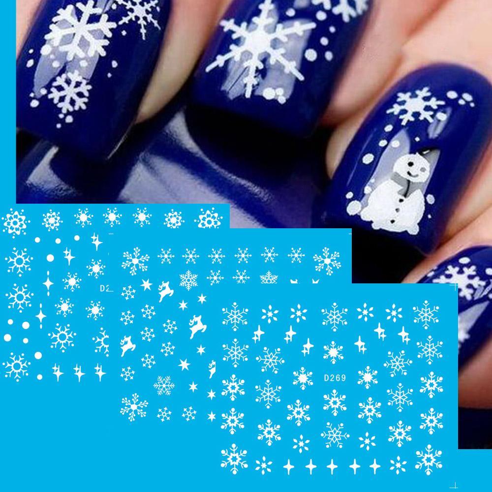 Cheap Nail Design Sticker 11 Designs Snow Flower White Sticker for ...