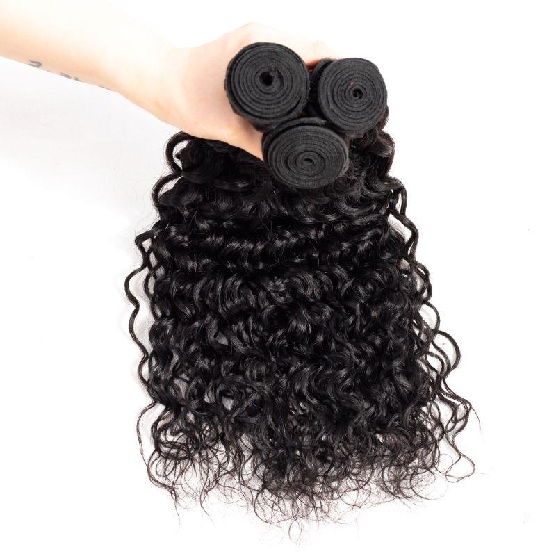 Malezya Bakire Saç 8 ~ 28 inç Brezilyalı Saç Uzantıları Doğal Renk dalgalı Su Dalga 3 Adet / grup İnsan Saç Su Dalga Demetleri Örgüleri