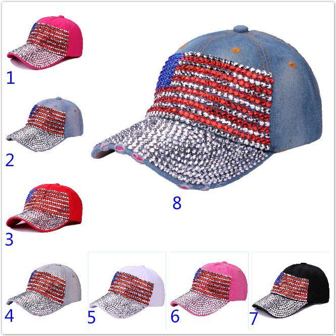 a8bd2c5476de9d Crystal Us American Flag Snapback Adjustable United States Flag Baseball Cap  Fashion Hip Hop Hat For Men Women Unisex Girls Snapbacks Hat Cool Caps Flat  ...
