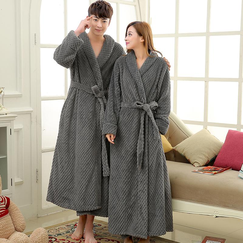 Mens Extra Long Thick Warm Winter Bathrobe Silk Soft Waffle Flannel ...