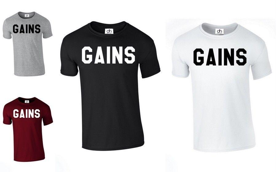 461f80632 Gains T Shirts Cross Fit MMA Body Building No Pain No Gain Top GAINS,TSHIRT  Funny Unisex Casual Tee Gift Shop For T Shirts Shop For T Shirts Online From  ...