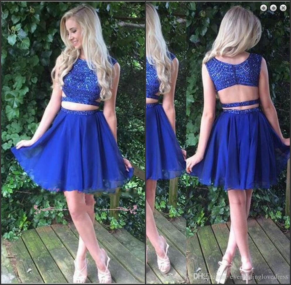 db6bb528e17 High Neck Two Piece Beading Sleeveless Short Royal Blue Homecoming Dress  Hot Short Prom Dresses Vestidos Curtos De Renda Formal Short Dresses  Inexpensive ...