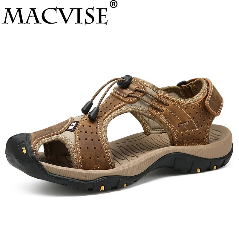 9b8823887bc21 2018 New Men s Casual Flat Genuine Leather Sandal Summer Beach Sandal  Hollow Out Breathable Light Walking Clog Suede Sandal Jesus Sandals Black  Wedges From ...