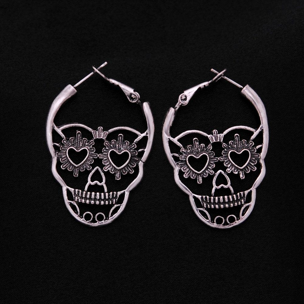 32ac990b6 2019 Vintage Antique Silver Color Love Heart Eyes Skull Hoop Earrings For  Women Punk Party Skeleton Jewelry Pendientes Mujer Moda From Fenkbao, ...