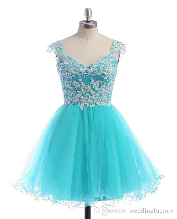 Cheap High Quality Short Prom Dresses Sweetheart Sheer Strapes Beads Sequins Lace Appliques Turquoise Tulle Homecoming Party Gowns