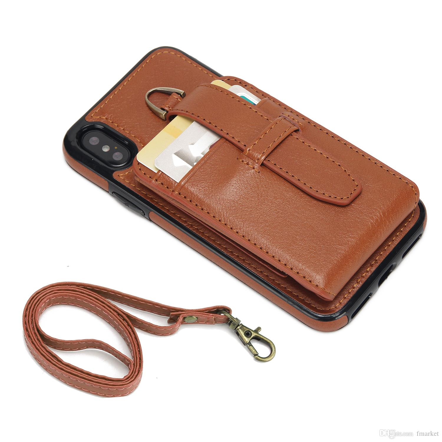 best authentic de512 31896 New style multi-function Leather wallet style mobile phone case for Iphone  x,8 with card slot pouch rope to carry