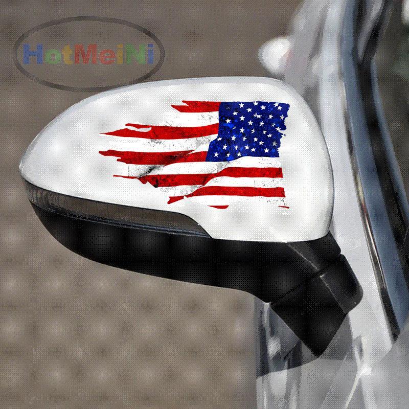 Usa Tattered Flagge Auto Aufkleber Rückspiegel Aufkleber 2 Pack Verspiegelte Amerikanische Stoßstange 3d Wasserdicht Vinyl Aufkleber Autozubehör