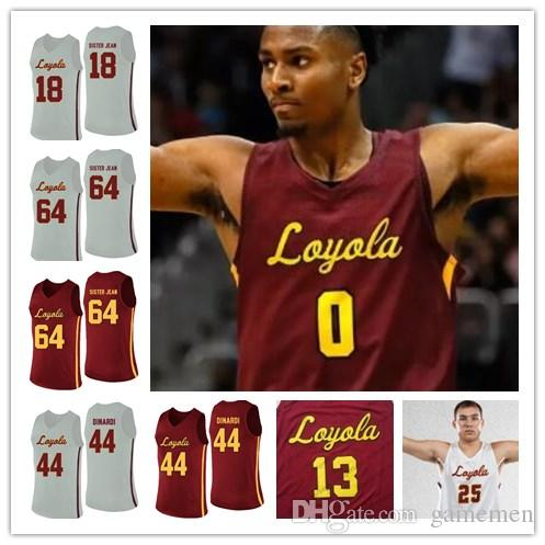 wholesale dealer 42758 cc2c1 Clayton Custer Loyola Chicago Ramblers Aundre Jackson Marques Townes Donte  Ingram Red white Sewn NCAA College Basketball Jersey S-4XL