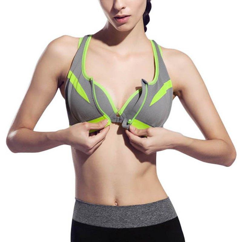 215490821b Running Yoga Sports Bra Zipper Front Padded Push Up Shockproof ...