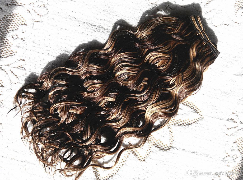 Brazilian Human Virgin Remy Hair Blonde27# Mix Medium Brown 4# Hair Weft Human Hair Extensions Double Drawn Full Head
